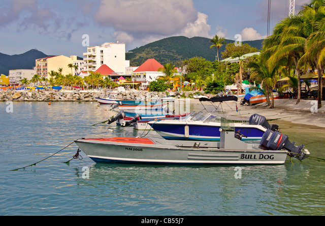 St Maarten Philipsburg boats at anchor off Front Street - Stock Image