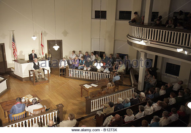 Monroeville Alabama Courthouse Square To Kill a Mockingbird actors courtroom audience men women scene costume literary - Stock Image