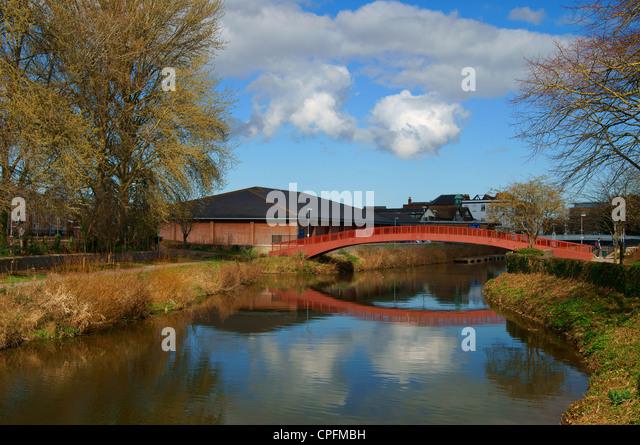 UK,Somerset,Taunton,Town Centre Footbridge over River Tone - Stock Image