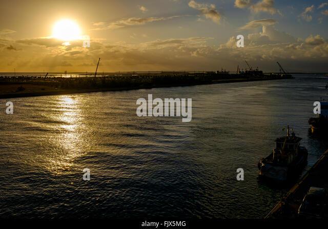Idyllic View Of Sea During Sunset - Stock Image