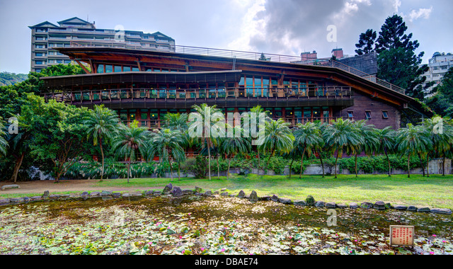 The eco friendly Beitou Library building in Taipei, Taiwan. - Stock Image