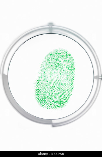 Finger print being identified as a password to access information - Stock-Bilder