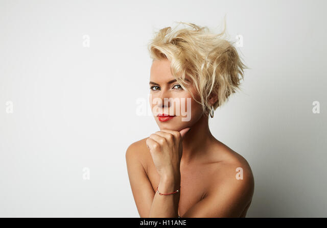 Portrait Young Blonde Head Female Perfect Skin Dreaming Something Interesting Copy Space Wall Your Business Information - Stock Image