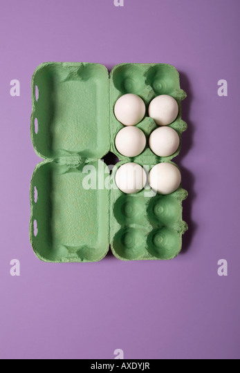 Eggs in box, elevated view - Stock Image
