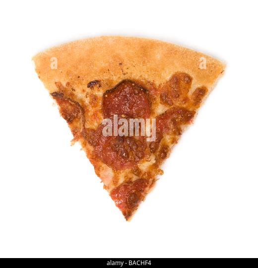 pepperoni pizza slice isolated on white background - Stock Image