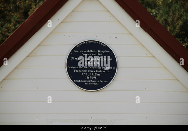 Bournemouth, UK -  11 May: Plaque on a beach hut located in Bournmouth beach. General view of the seaside town - Stock Image