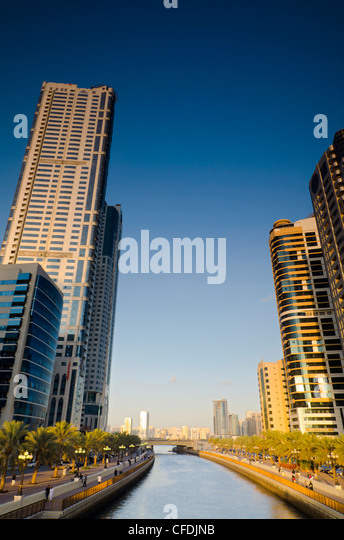 Al Qasba Canal, Sharjah, United Arab Emirates, Middle East - Stock Image