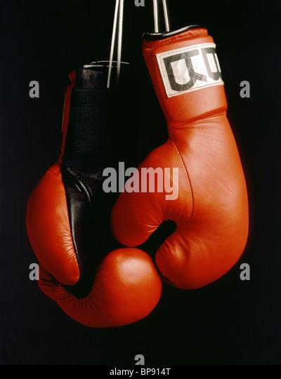 Boxing gloves, fight,box,sport,bout,round - Stock Image