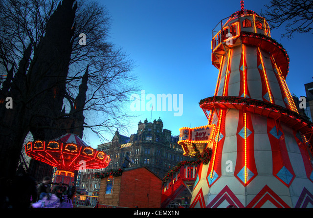 Hogmanay Fair in Princes St Gardens, Edinburgh Near Jenners. Illuminated amusements and rides @Hotpix - Stock Image