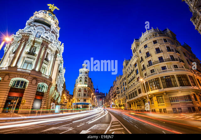 Madrid, Spain cityscape on Gran Via at twilight. - Stock Image