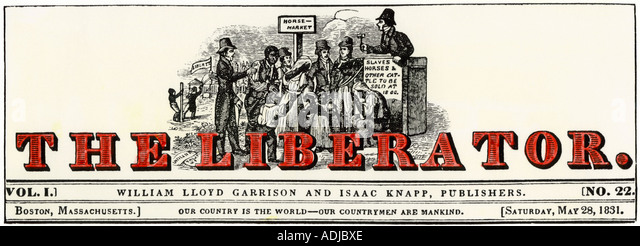 Masthead of 1831 The Liberator abolitionist newspaper published by William Lloyd Garrison - Stock Image