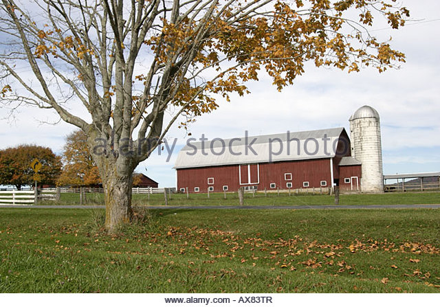 West Virginia Lewisburg U.S. Route 60 red barn - Stock Image