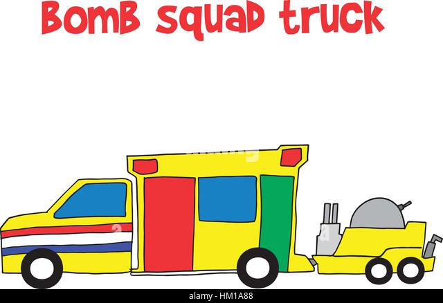 Bomb squad truck collection stock - Stock Image