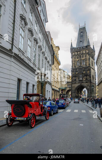 Tour Prague in old fashioned style, on a 90-minute, private trip through the city in a historic car for your group - Stock Image