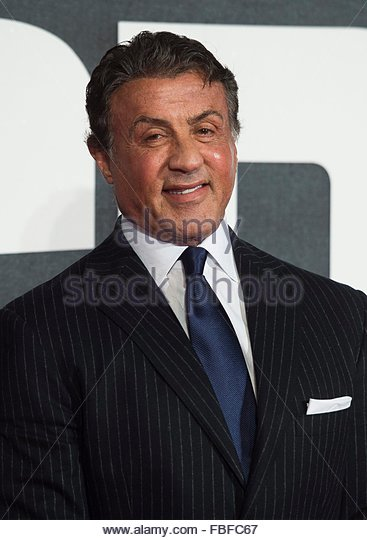 epa05099005 US actor/cast member Sylvester Stallone arrives at the European premiere for 'Creed' in Leicester - Stock Image