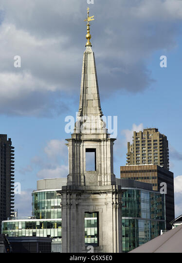 St Vedast Alias Foster, church in the City of London; Baroque spire, going from concave to convex and back to concave. - Stock-Bilder
