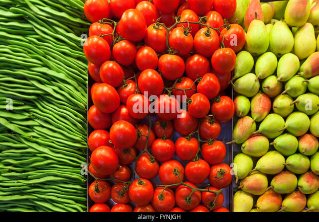 Beans, Tomatoes, Pears, Fruits, ,  Mercat de Sant Josep located on La Rambla, Boqueria market, Barcelona, Spain - Stock Image