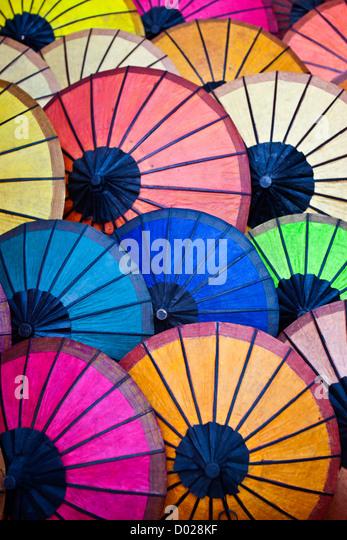 Coloured umbrellas night market old quarter Luang Prabang Laos PDR - Stock-Bilder