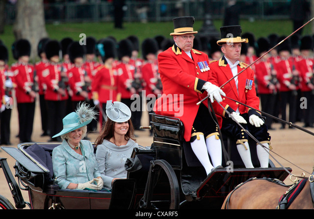 The Duchess of Cornwall and the Duchess of Cambridge,  Trooping the Colour 2012, The Queen's Birthday Parade, - Stock Image