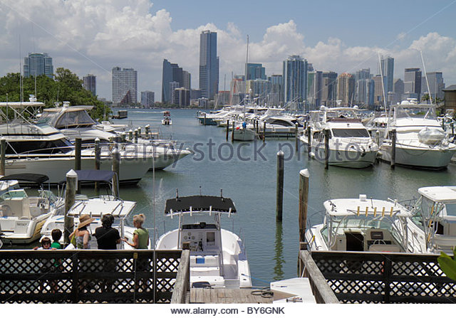 Miami Florida Virginia Key Key Biscayne Rickenbacker Marina downtown skyline view boats yachts - Stock Image