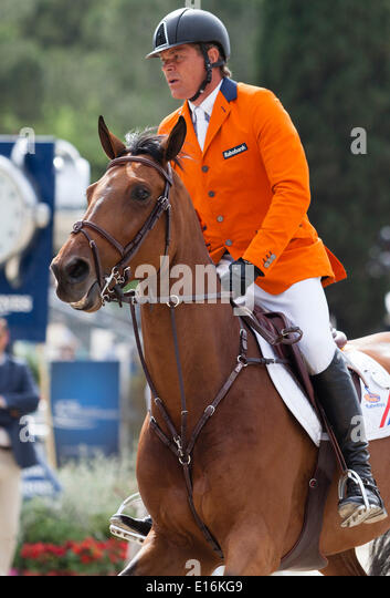 Dutchman Jeroen Dubbeldam rides his horse Zenith SFN at the Furusiyya FEI Nations Cup Show jumping competition at - Stock Image