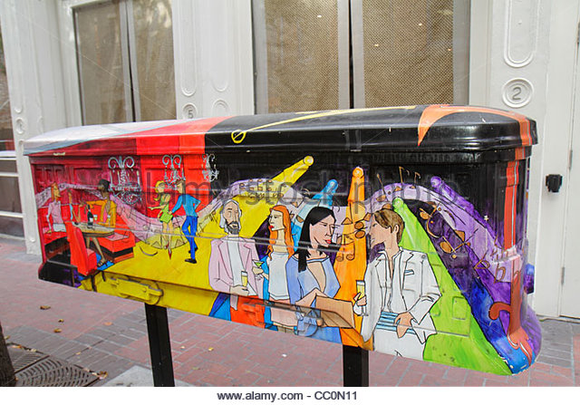 Louisiana New Orleans downtown public art Streetcar Named Inspire project painted fiberglass sculpture - Stock Image