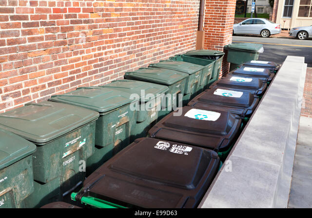 Trash and recycling bins - USA - Stock Image