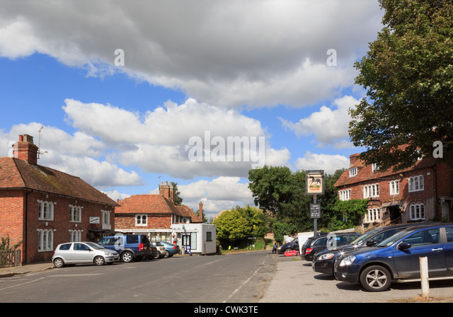 Main street through centre of most haunted English village reputed to have many ghosts. Pluckley, Kent, England, - Stock Image