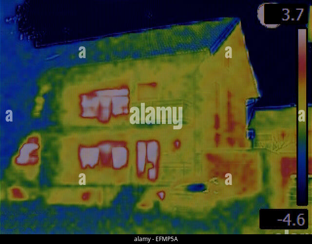 Thermal Image of the House - Stock Image