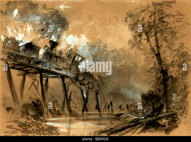 Destruction of the locomotives on the bridge over the Chickahominy River, Virginia during the USA Civil War , 1862 - Stock Image