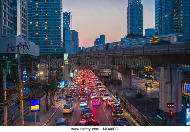 Rush hour at Sathorn business area in Bangkok, Bangkok Metropolis, Krung Thep, Thailand - Stock Image