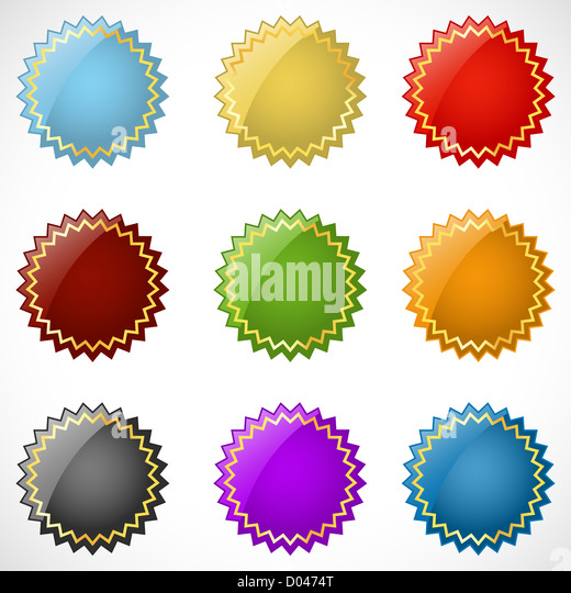 illustration of different colorful logo on white background - Stock Image