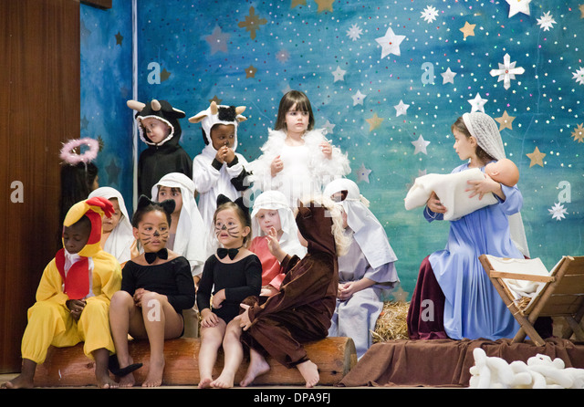 Young School Nativity Play in Cape Town - South Africa - Stock Image