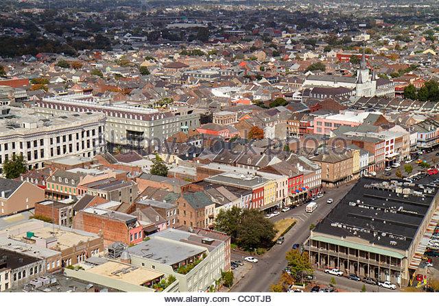 Louisiana New Orleans French Quarter National Historic Landmark skyline North Peter Street aerial roof street grid - Stock Image