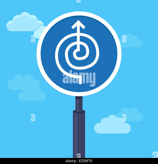 Abstract strategy concept in flat style - road sign with arrow - way to success - Stock-Bilder