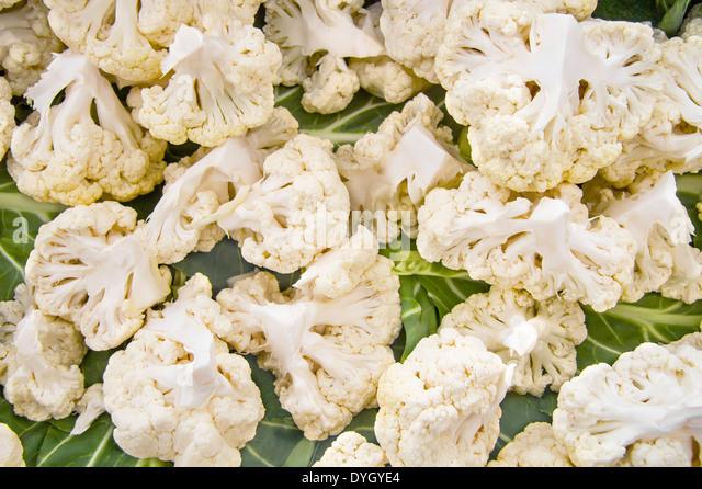 Organic White Cauliflower Broken To Parts - Stock Image