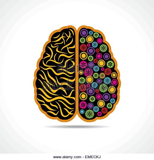 Conceptual idea  silhouette image of brain with gear - Stock-Bilder