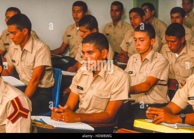 CORDERO, TACHIRA STATE, VENEZUELA - Cadets in class at National Guard Academy in May 1988. - Stock Image