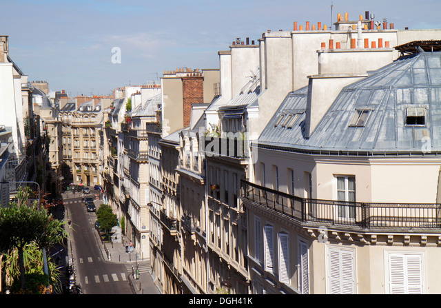 Paris France Europe French 9th arrondissement Rue la Bruyere aerial historic Haussmann apartment buildings rooftops - Stock Image
