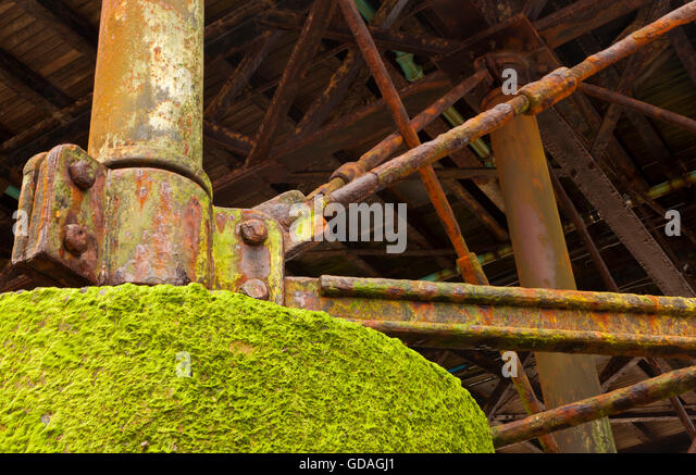 Iron, Concrete and metal work under Cromer Pier - Stock Image