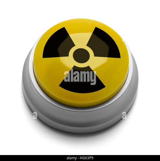 Yellow and Black Nuclear Button Isolated on White Background. - Stock Image