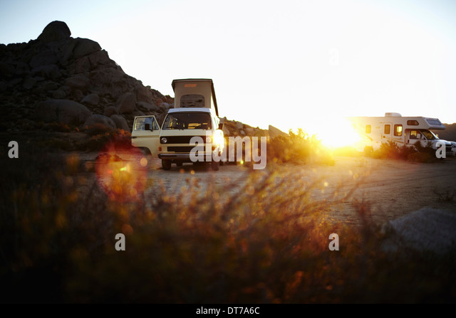 A camper van a classic design and an iconic travelling vehicle in Yosemite national park at sunset California USA - Stock Image