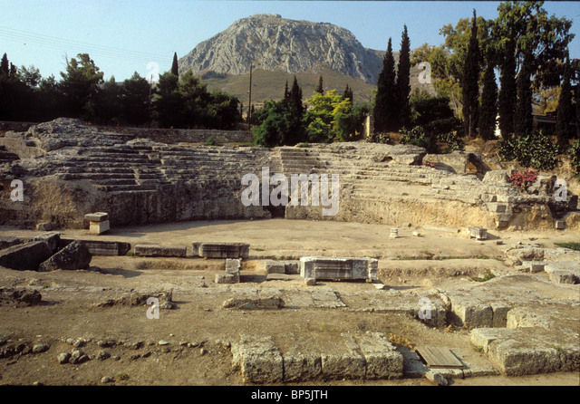 CORINTH ARCHEOLOGICAL REMAINS OF THE GREEK-ROMAN CITY WHICH PAUL VISITED ON HIS FIRST MISSION After these things - Stock Image