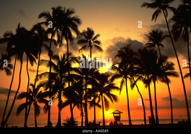 Sunset Waikiki Beach Waikiki Oahu Hawaii USA - Stock-Bilder