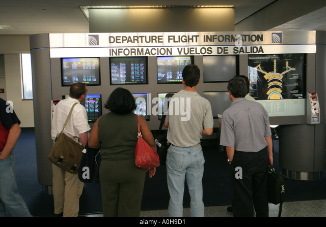 New Jersey Newark Liberty Airport travelers flight information - Stock Image