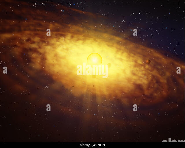 Protoplanetary disc formation - 3d illustration - Stock-Bilder