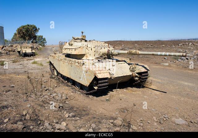 Centurion tank left of the yom kippur war on 'tel e-saki' on the Golan Heights in Israel - Stock Image