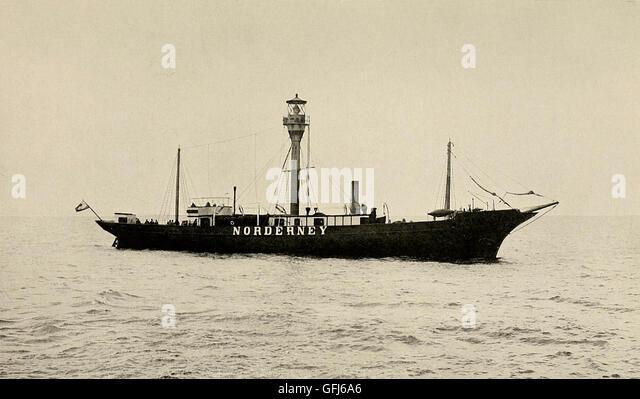The Norderney Lightship, circa 1900 - Stock Image