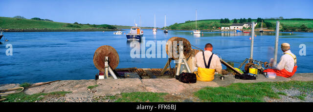 Fishermen Strandford Lough Down Northern Ireland - Stock Image