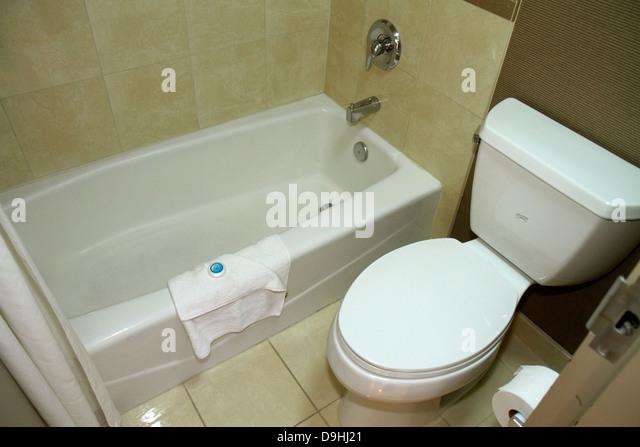 Nevada Las Vegas Downtown Plaza Hotel & Casino hotel guest room suite bathroom toilet loo bathtub - Stock Image